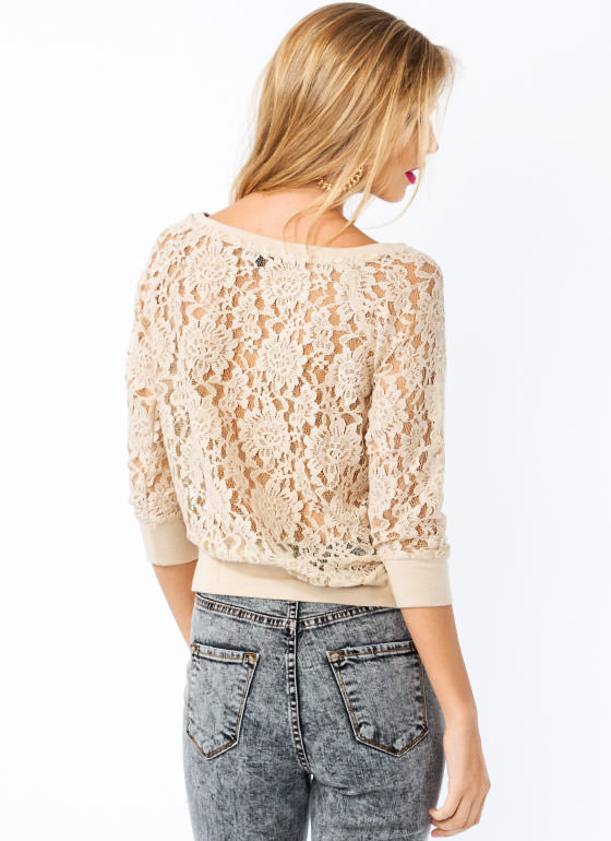 Lovely In Lace Top BEIGE