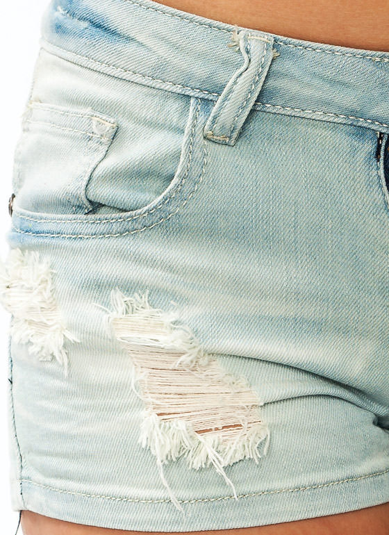 Distressed Denim Shorts LTBLUE