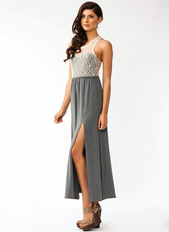 Lace Maxi Dress CHARCREAM