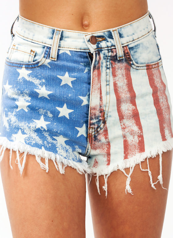 High Waisted American Flag Shorts REDBLUE