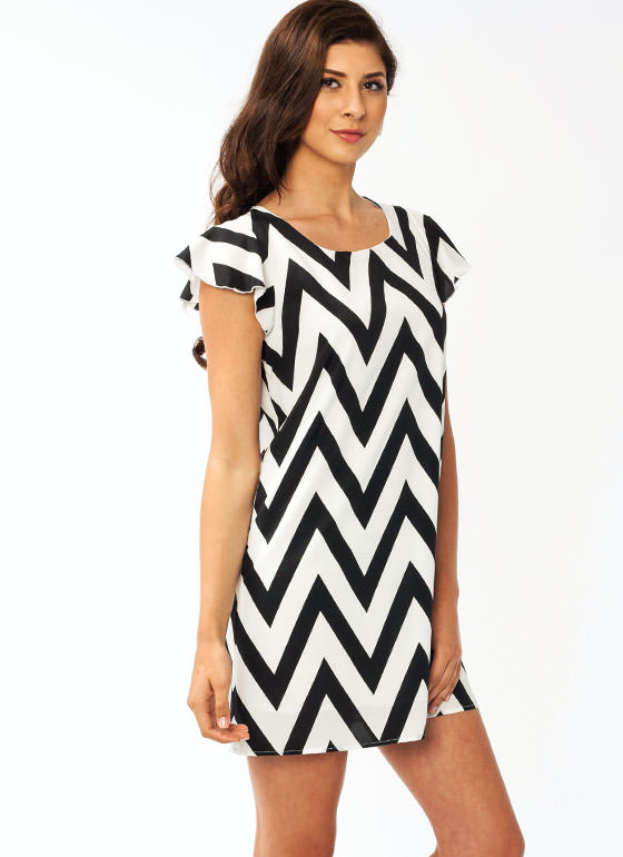 Zigzag Flutter Sleeve Dress WHITEBLACK