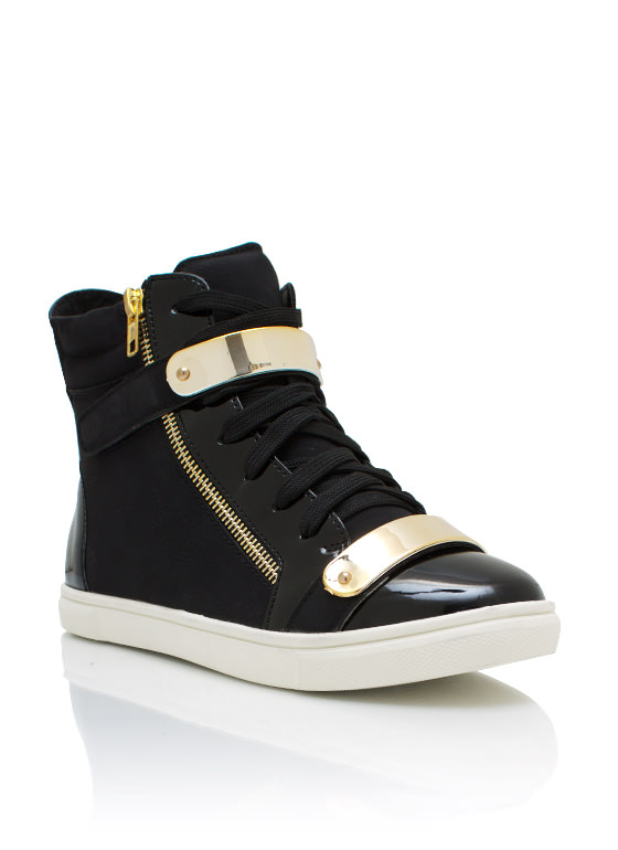 Metallic Accent Nubuck Sneakers BLACK
