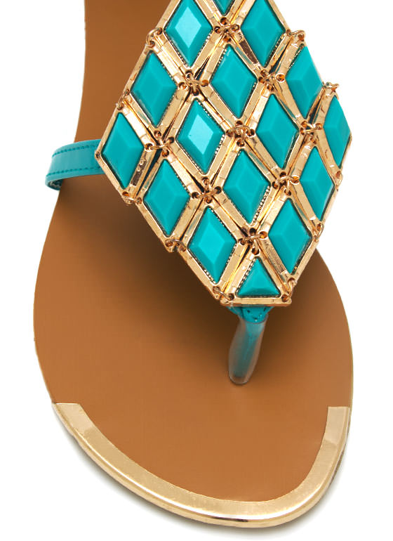 Metal Accent Sandals SEAFOAM