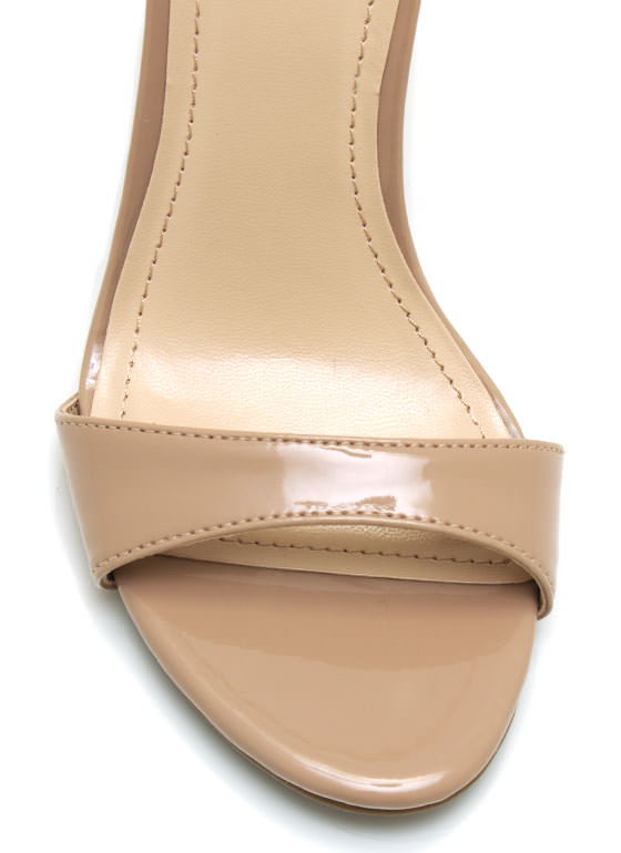 Faux Patent Single Sole Wedges NUDE