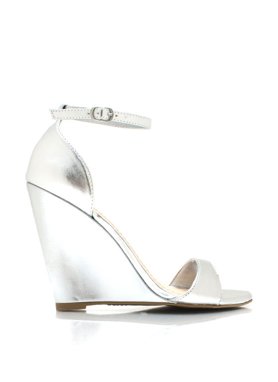 Metallic Single Sole Wedges SILVER
