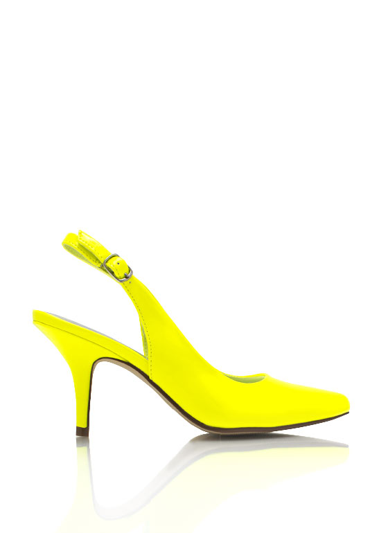 Faux Patent Slingback Heels YELLOW