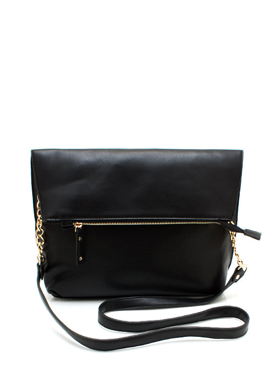 Exposed Zipper Fold Over Bag BLACK