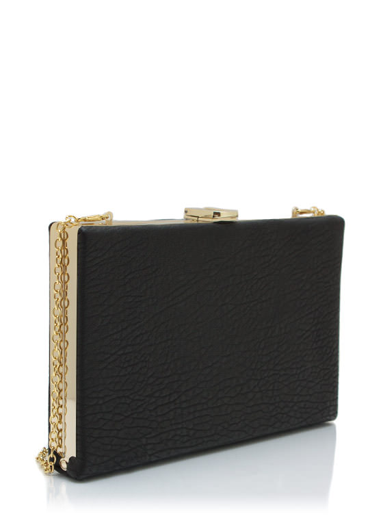 Hard Case Rectangle Clutch BLACKGOLD