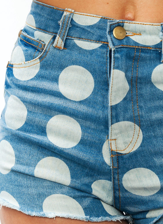 On The Dot Denim Shorts BLUE