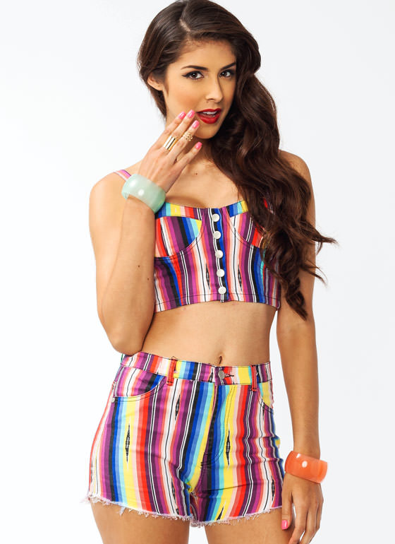 Rainbow Striped Button Bustier YELLOWPURP (Final Sale)