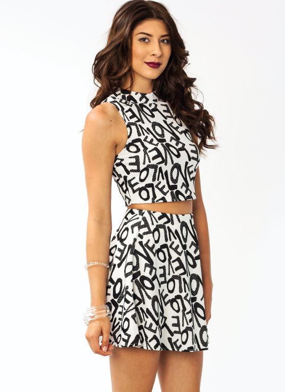 In Love Printed Cropped Top IVORYBLACK