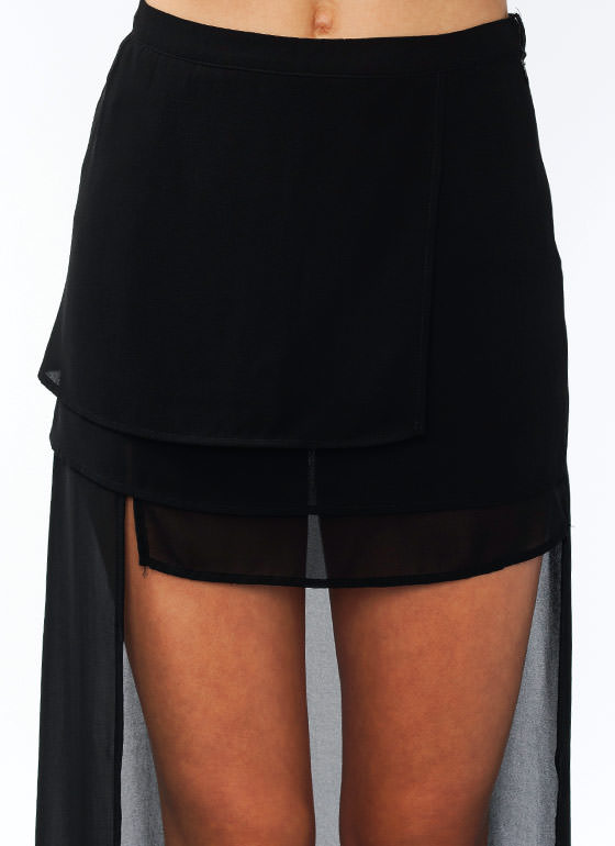 Layered High Low Skirt BLACK