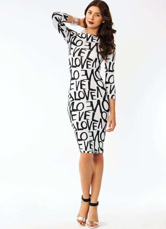 In Love Fitted Dress IVORYBLACK