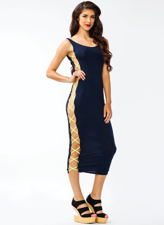 Laced Up Maxi Dress NAVYNYLLW