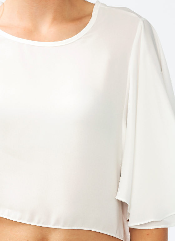 Flutter Sleeve Cropped Top IVORY