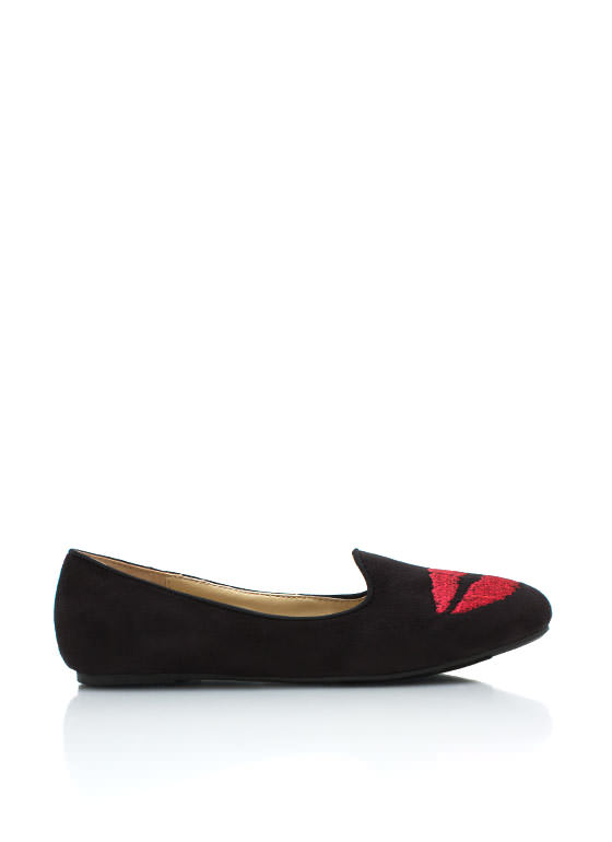 Faux Suede Smooch Loafers BLACK