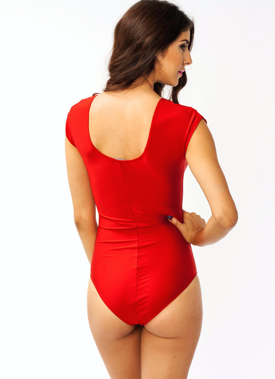 Plunging Mesh Bodysuit RED