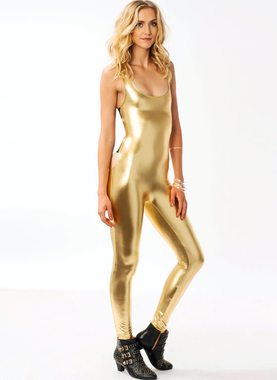 Faux Leather Strappy Jumpsuit GOLD