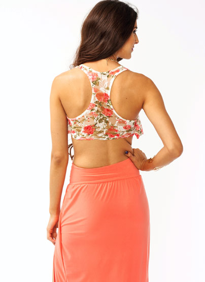 Flower Child Lace Cropped Top IVORYPINK