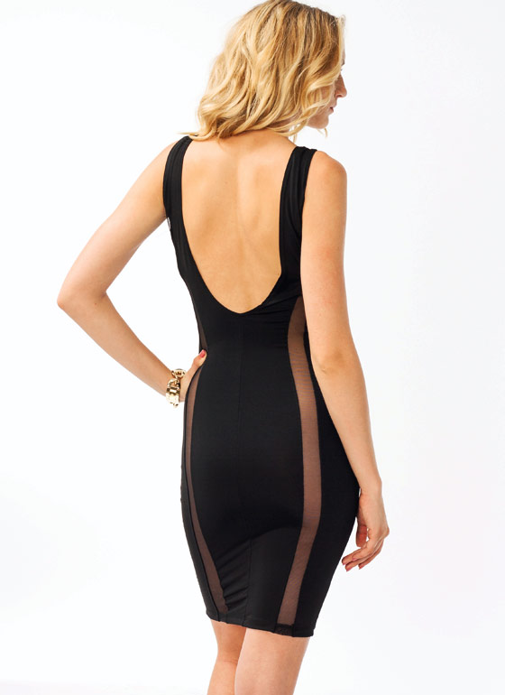 Meshtastic Open Back Dress BLACK