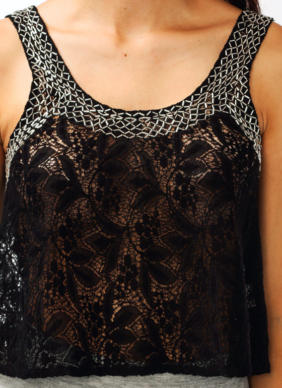 Beaded Lace Tank BLACK