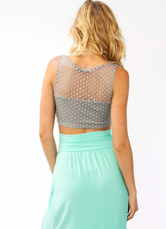 Polka Dot Mesh Cropped Top GREY