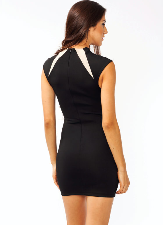Mesh Inset High Neck Dress BLACK
