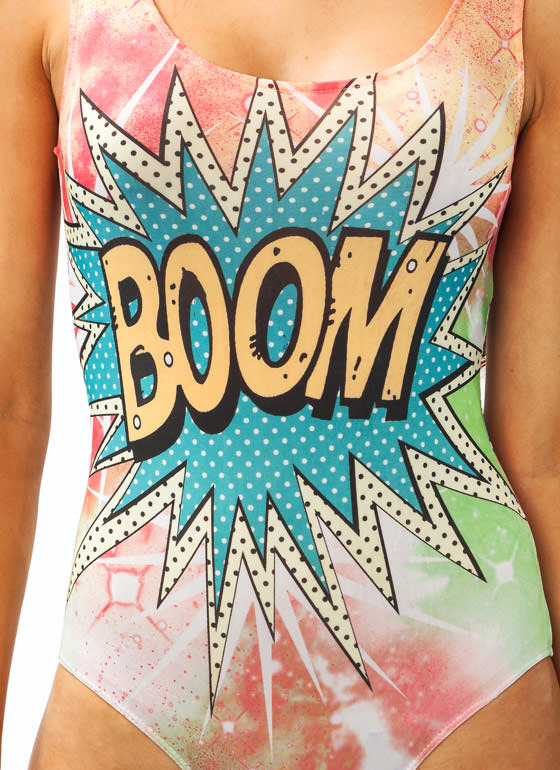 Graphic Explosion Bodysuit PINKBLUE
