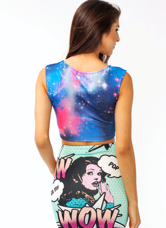 Galaxy Explosion Cropped Top PURPLE