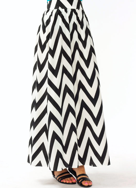 Double Slit Zigzag Maxi Skirt BLACKWHITE