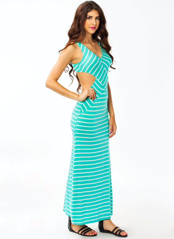 Striped Cut Out Maxi Dress MINT