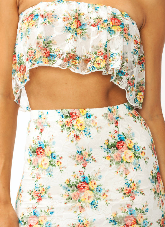 Flower Child Lace Tube Top IVORYBLUE (Final Sale)