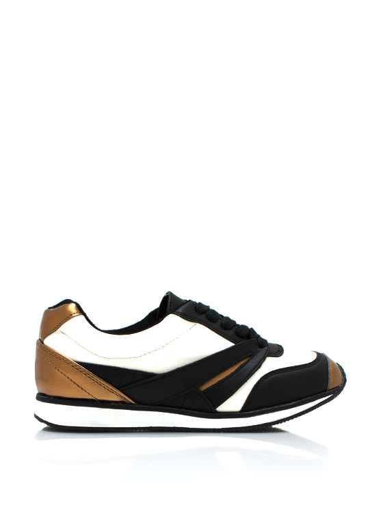 Sporty Faux Leather Sneakers WHITE