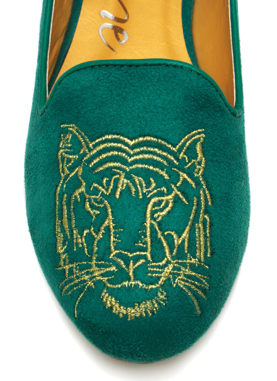 Eye Of The Tiger Smoking Flats SEAGREEN