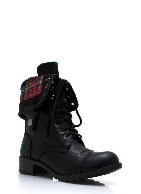 Faux Leather Full Combat Boots BLACK