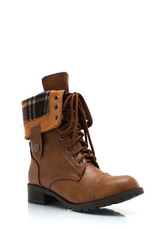 Faux Leather Full Combat Boots TAN