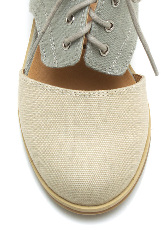 Canvas Cut Out Flats BEIGEGREY