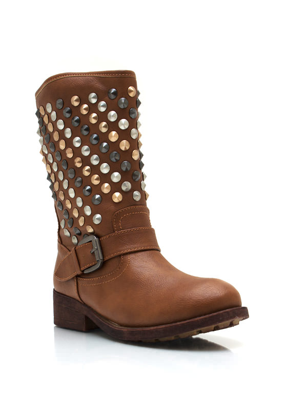 Studded Faux Leather Buckle Boots WHISKY