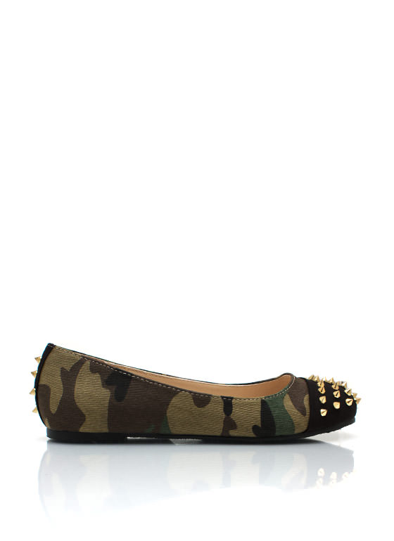 Spiked Cap Toe Camo Flats CAMOUFLAGE (Final Sale)