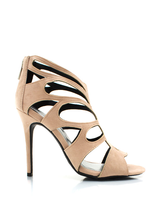 Velvet Butterfly Caged Heels NUDE