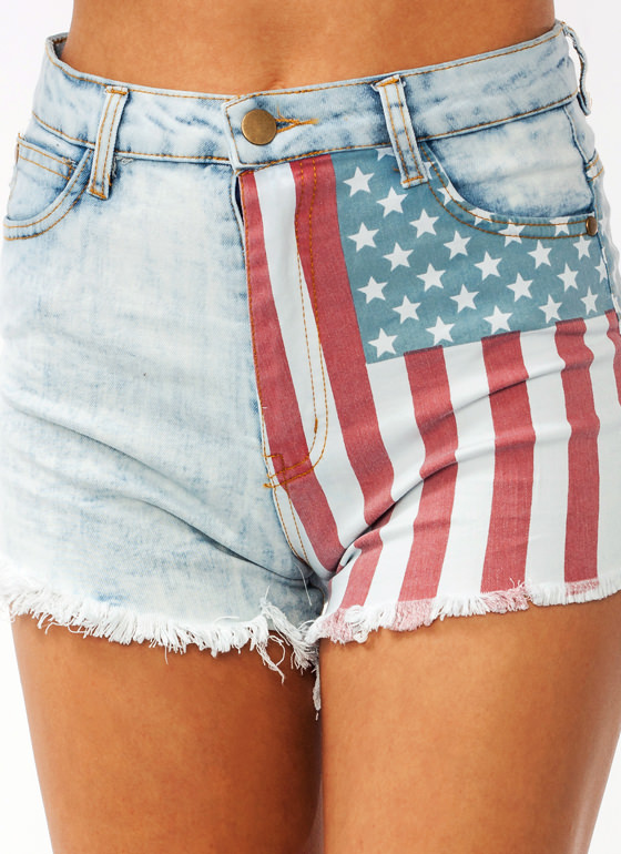 Patriotic Denim Cut Offs BLUERED