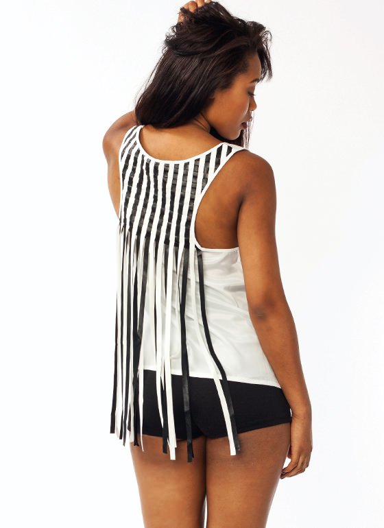 Basket Weave Faux Leather Tank IVORYBLACK (Final Sale)