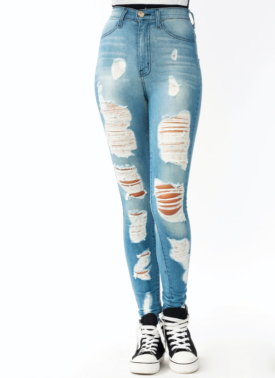 Destroyed Skinny Jeans LTBLUE