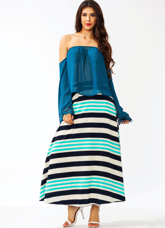 Striped Just Right Maxi Skirt BLUENAVY (Final Sale)