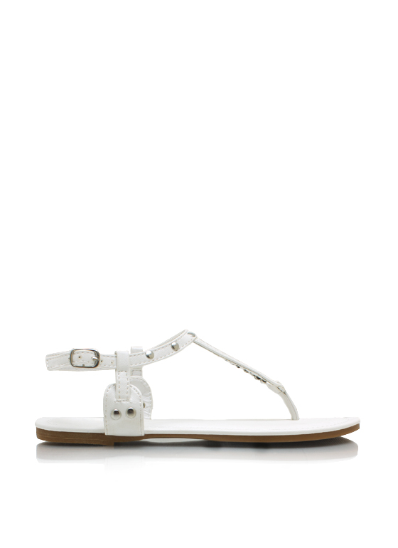 Studded T Strap Sandals WHITE
