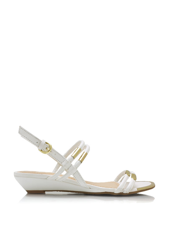 Metal Accent Slingback Wedge Sandals WHITE