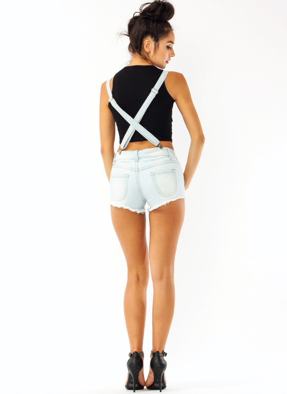 Patriotic Denim Suspender Shorts LTBLUE