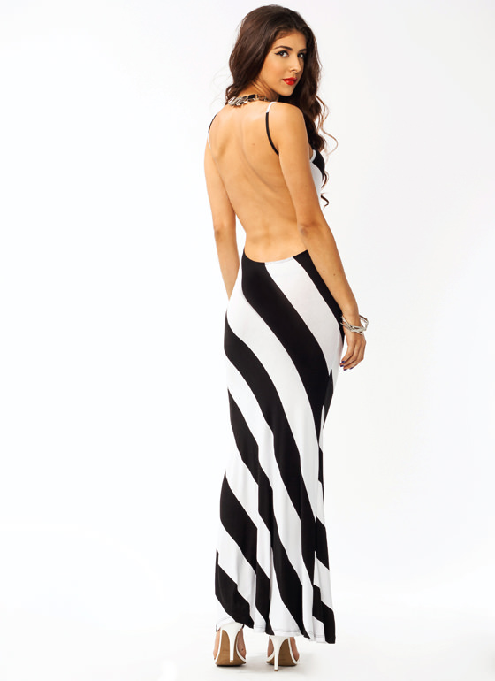 Angle Striped Maxi Dress BLACKWHITE