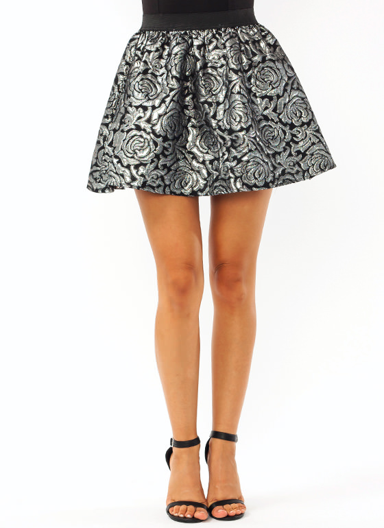 Metallic Embossed Mini Skirt BLACKSILVER
