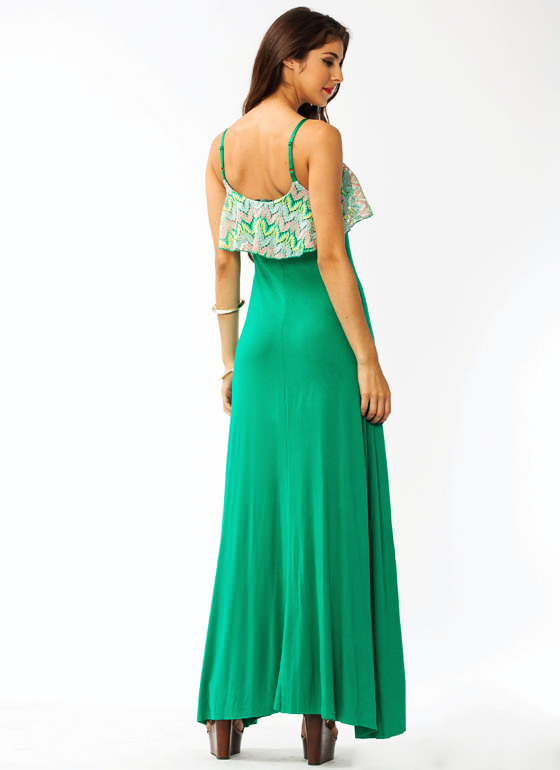 Crochet Draped Maxi Dress GREEN